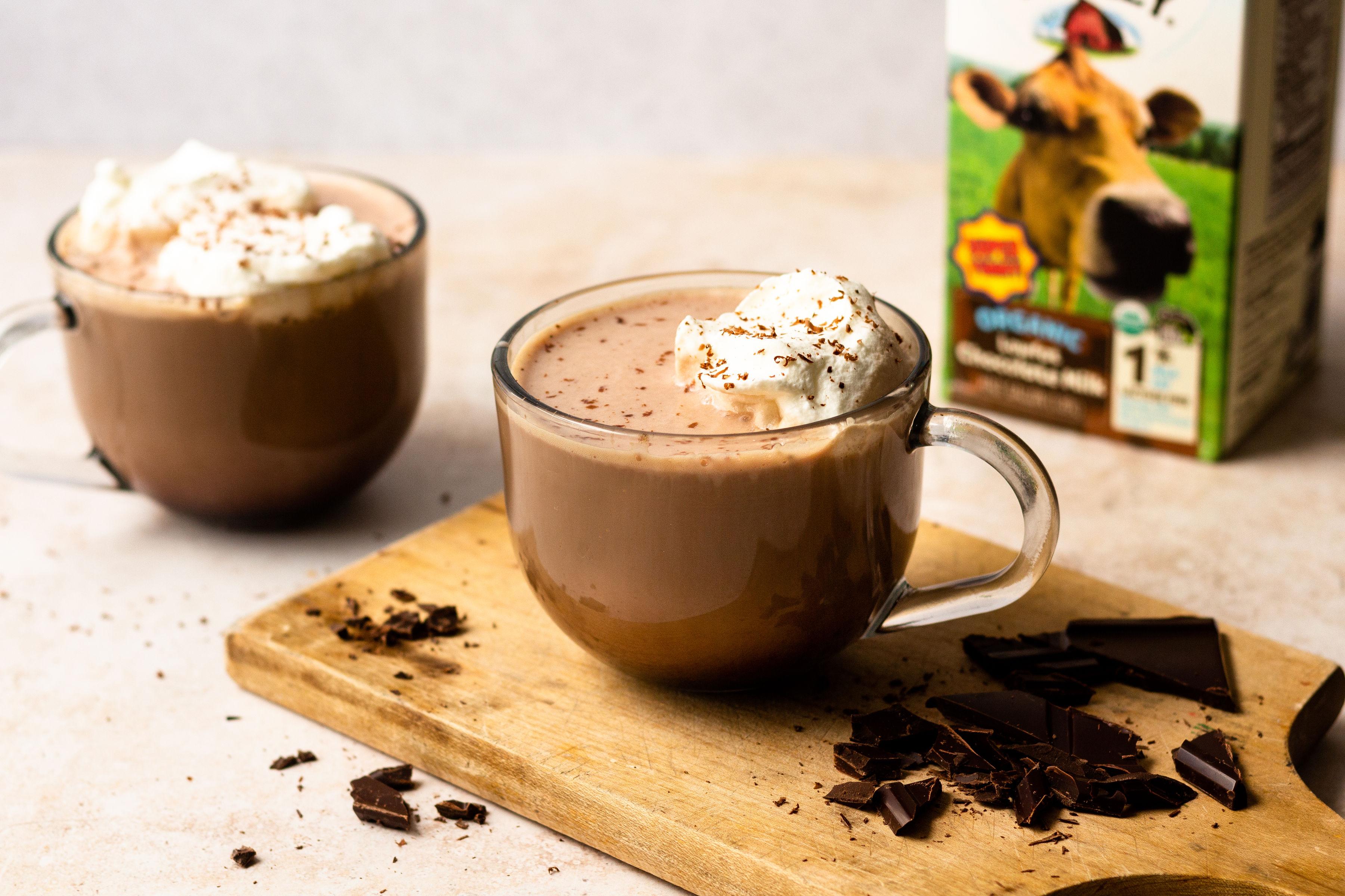 Dark chocolate mocha with Organic Valley Lowfat Chocolate Milk.