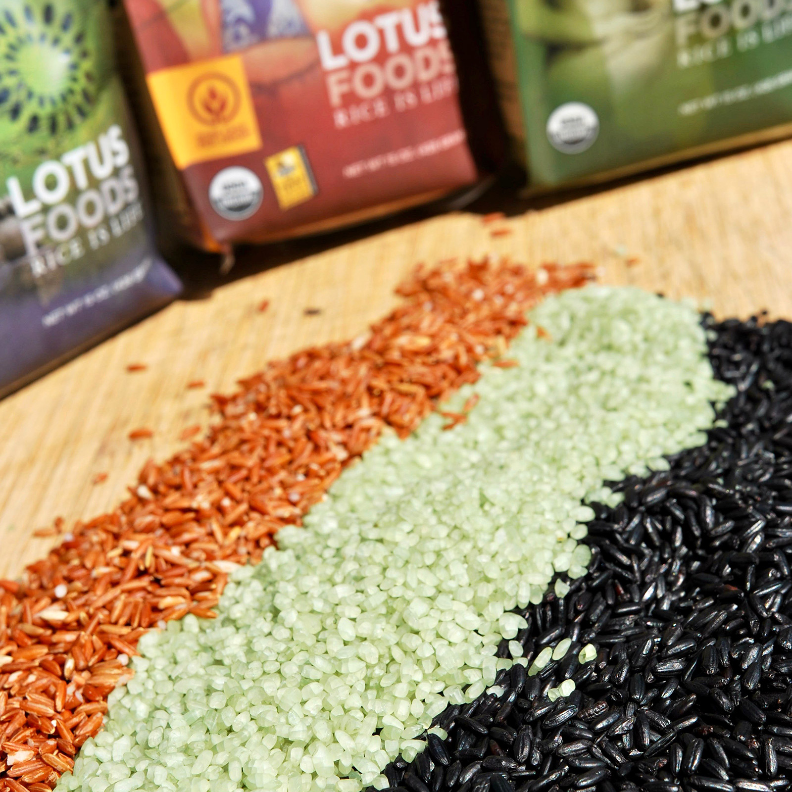 Red, white and black varieties of Lotus Foods rice.