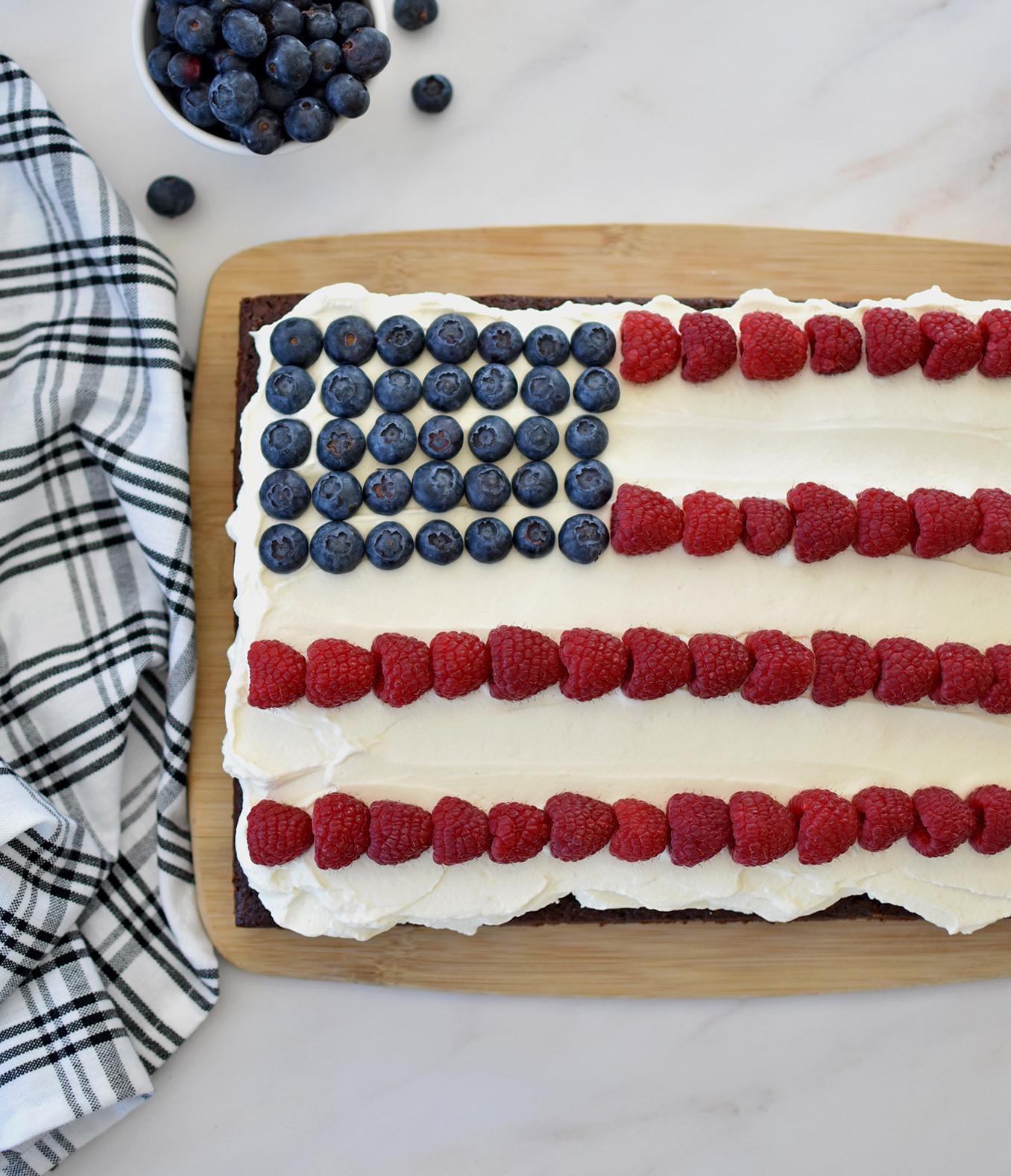 Chocolate Berry Flag Cake