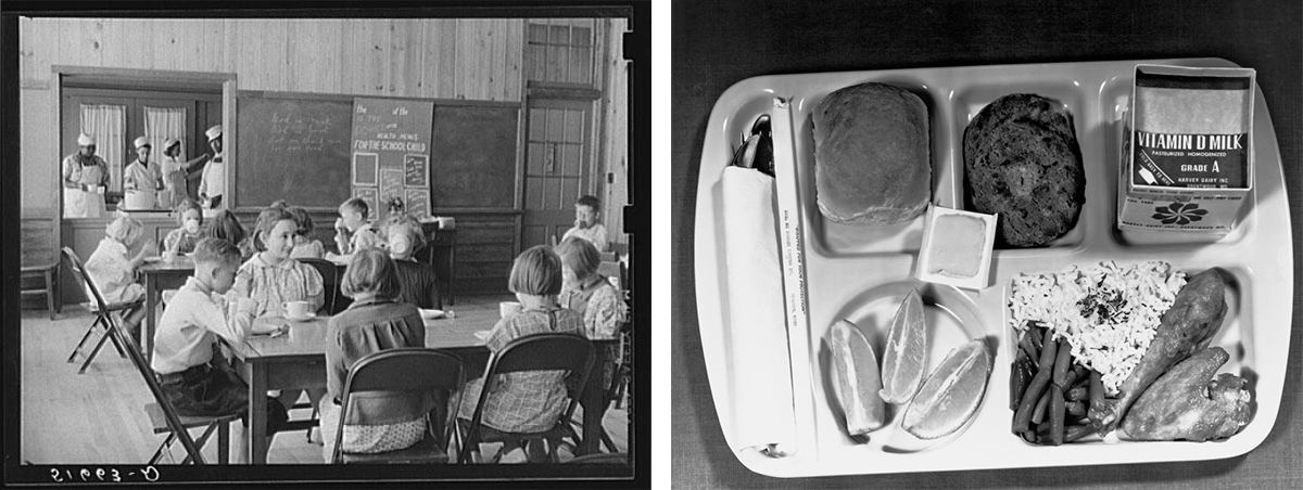 Children sit at lunch tables while women cook in the kitchen in the background. An overhead view of a school lunch tray containing chicken, rice, green beans, bread, fruit, a dessert, and milk.