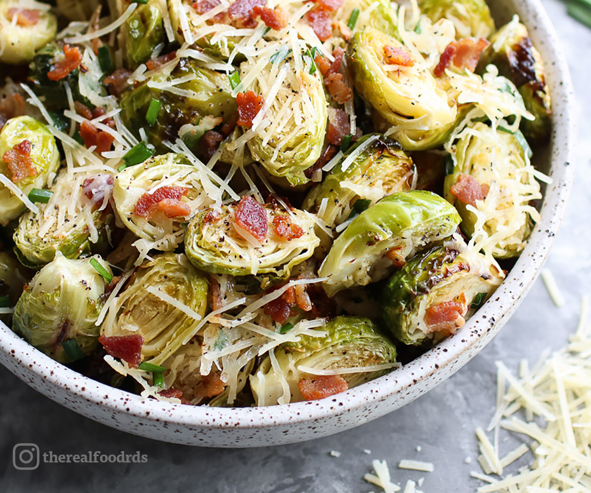 Parmesan Roasted Brussels Sprouts with Bacon. Recipe and photo by the Real Food Dietitians.