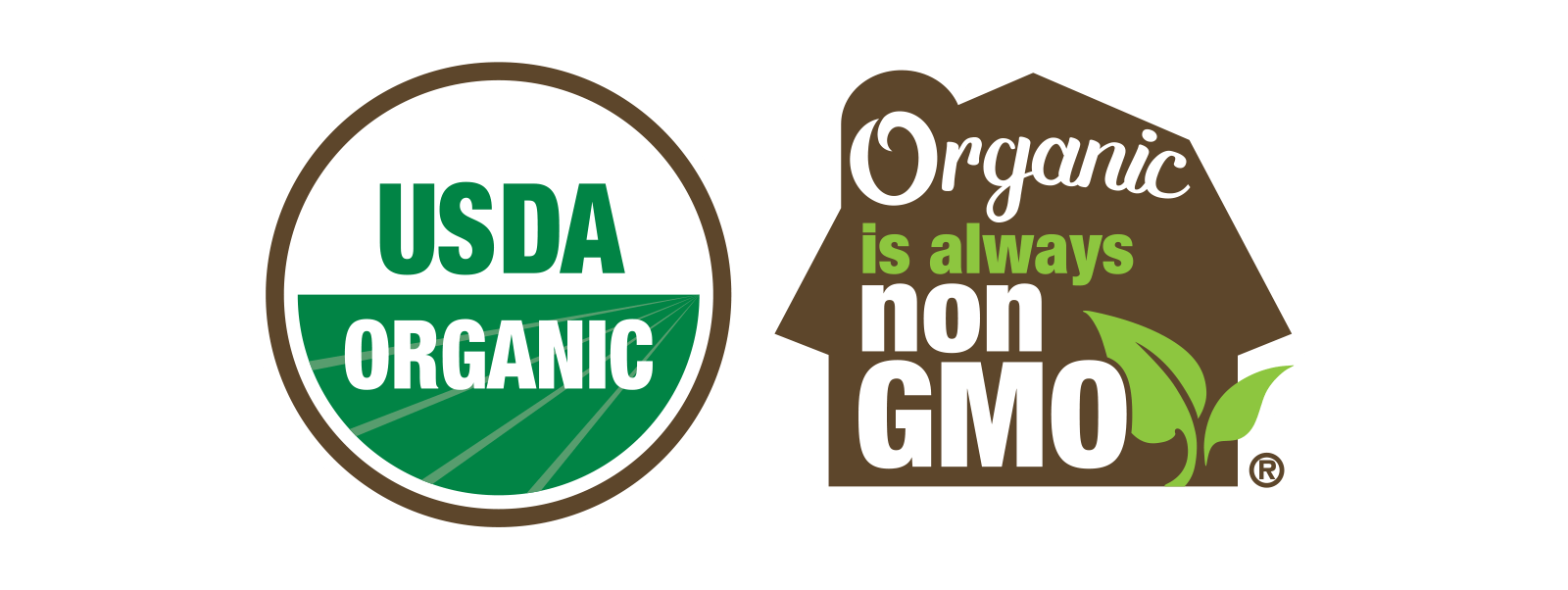 The Certified Organic seal next to the Organic Always Means Non-GMO seal.