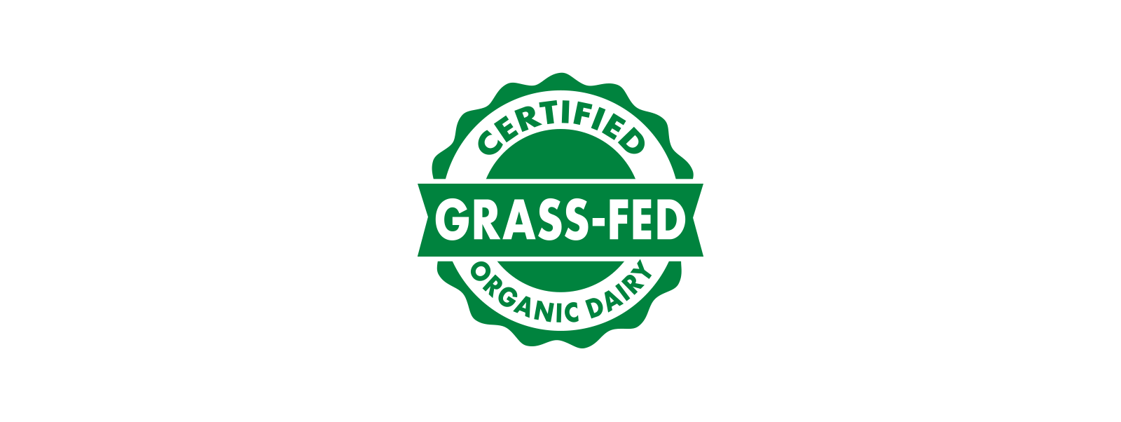 The green and white certified grass-fed organic dairy seal.