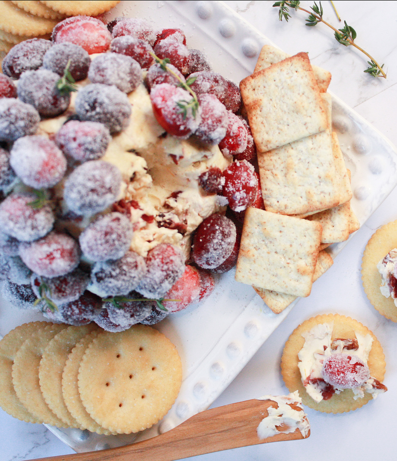 Cranberry-Orange Cheese Ball with Candied Pecans and Sugared Cranberries