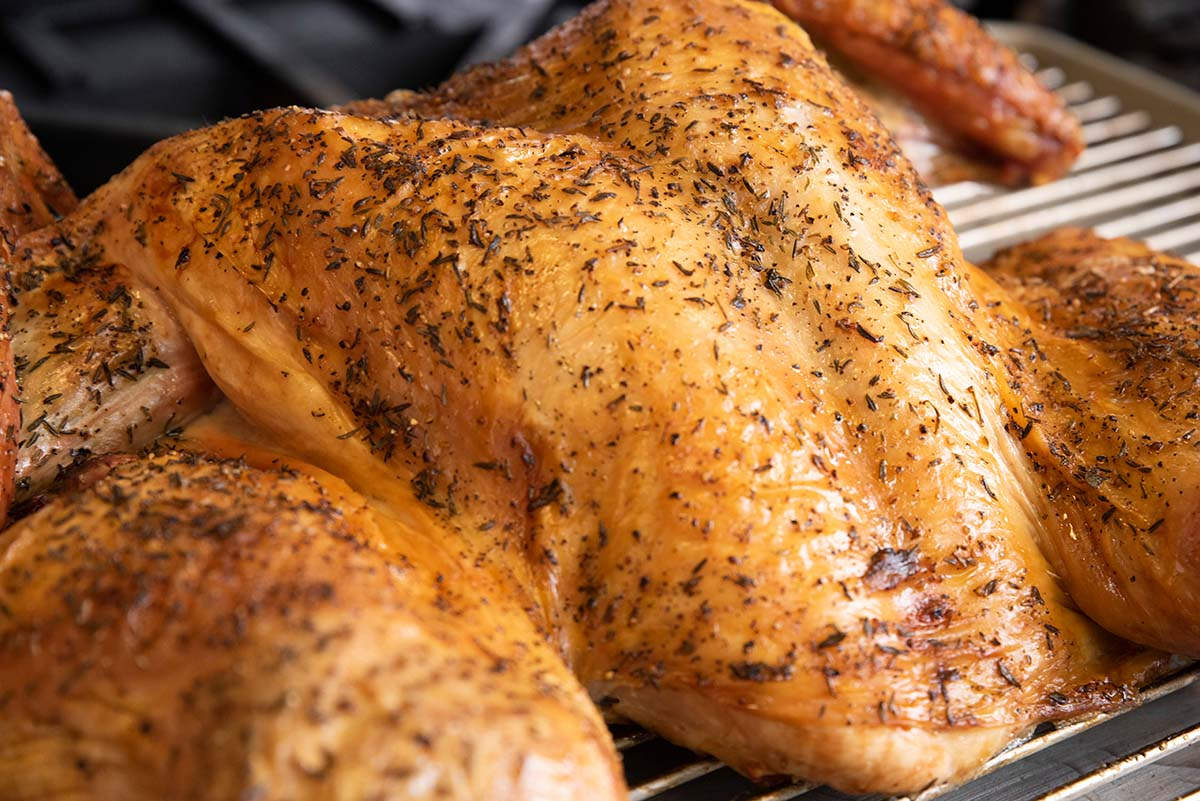 The cooked Thanksgiving turkey will be nice and crisp.
