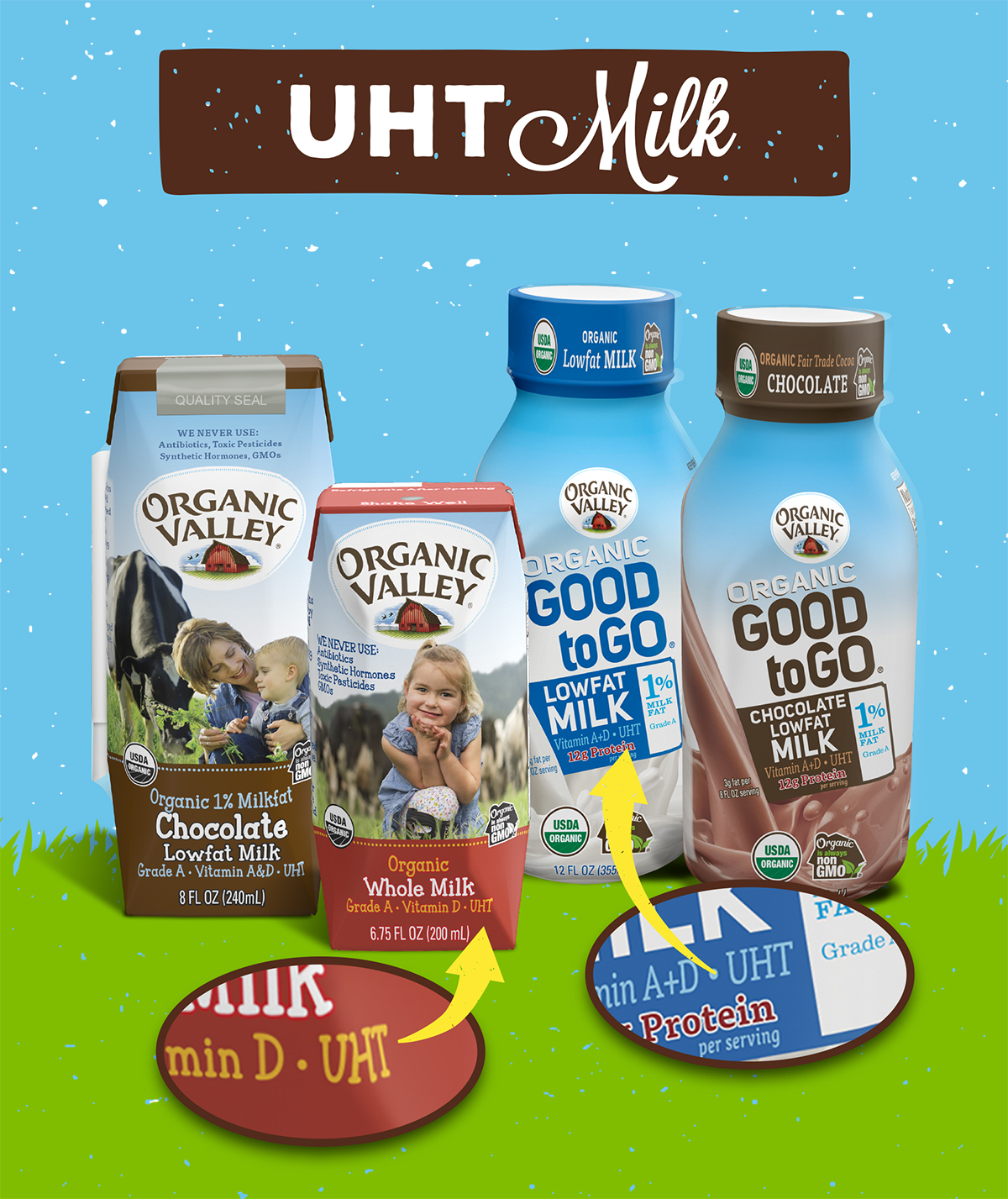 Organic Valley single serve milk cartons with arrows pointing to where it says UHT on the package.