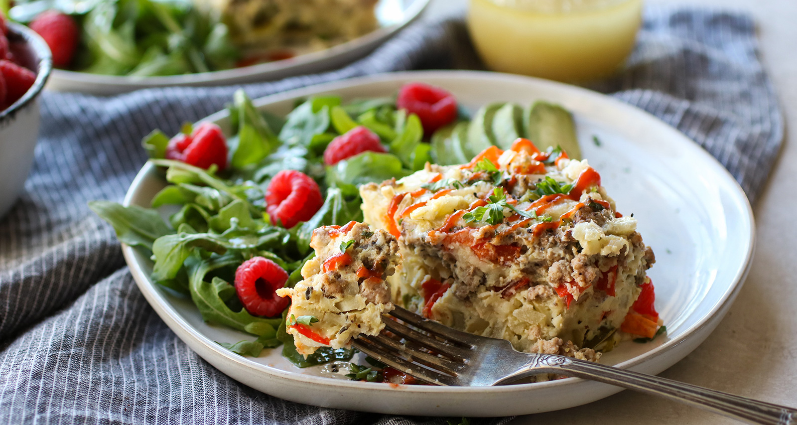 This Slow Cooker Turkey Sausage and Hashbrown Egg Bake can be easily modified into a strata by layering the ingredients. Photo by the Real Food Dietitians.