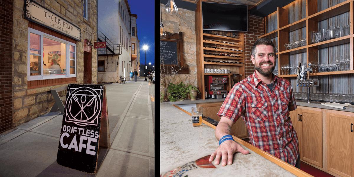 <p><em>Chef Luke Zahm behind the handcrafted bar at the Driftless Café. </em></p>
