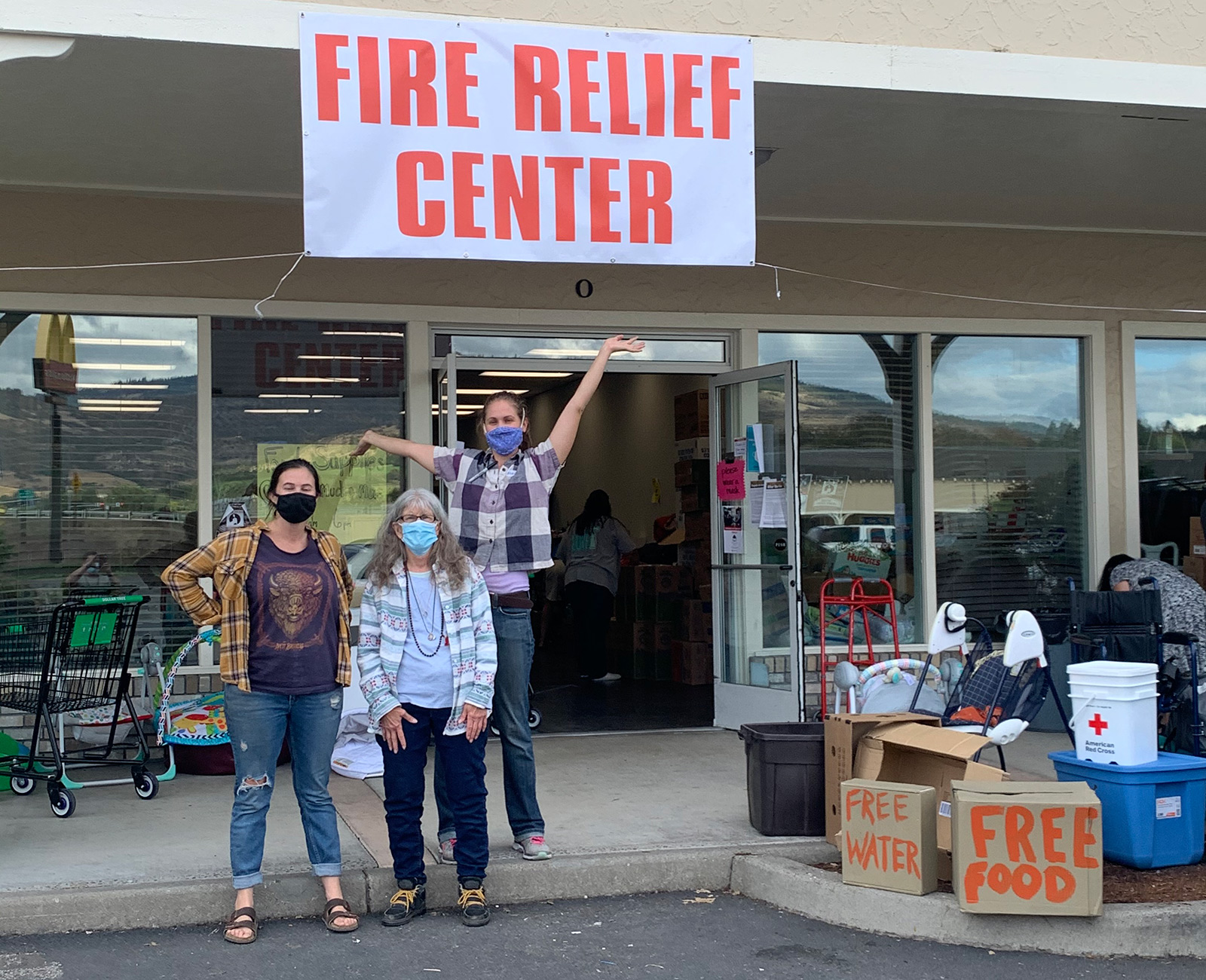 A fire relief center set up to provide free food and water.