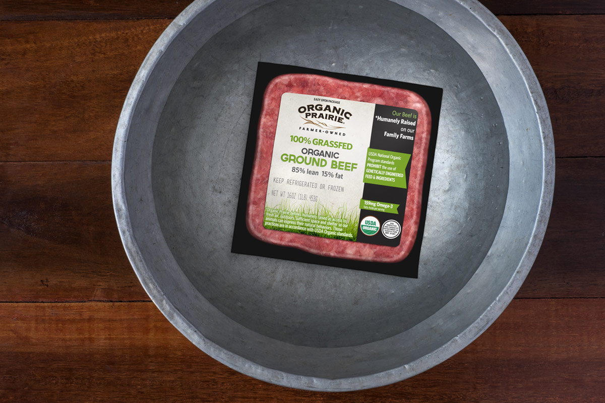 Organic Prairie ground beef rests in a bowl to thaw.