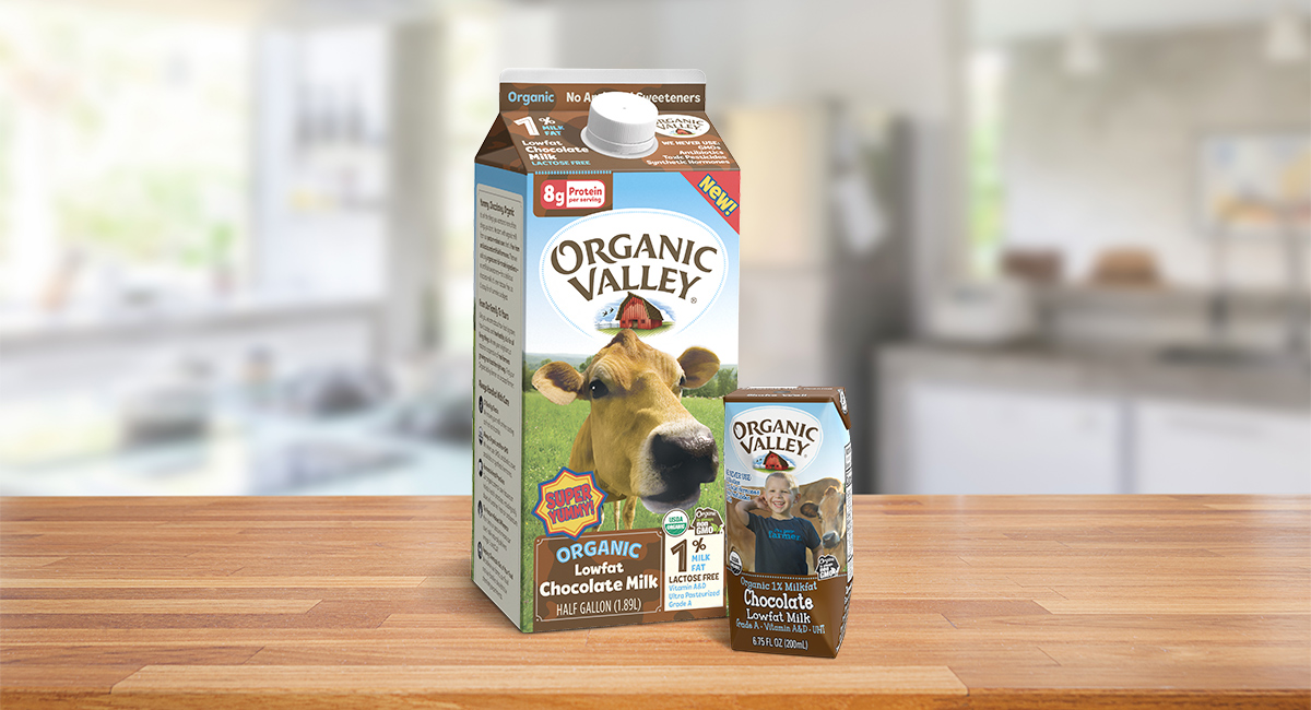 Organic Chocolate Milk displayed on a table.