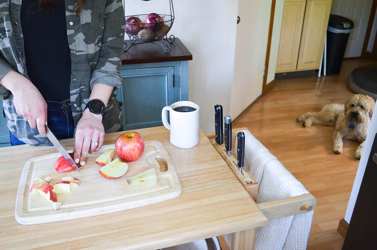 Meal prep by chopping fruits and vegetables, such as apples ahead of time. Photo contributed by Laura Ligos of The Sassy Dietitian.