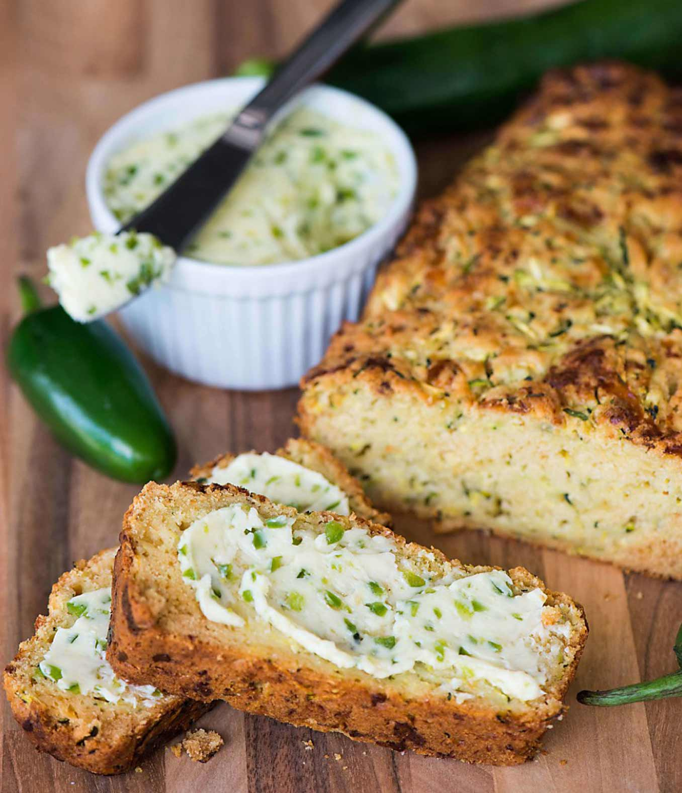 Cheddar Zucchini Bread with Jalapeño Honey Butter