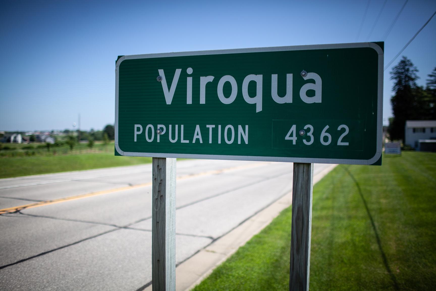 Road sign that says Viroqua, Wisconsin, population 4,362.