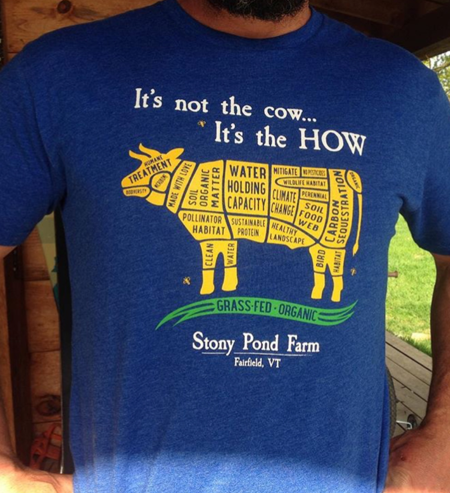 Tyler wears a shirt that says, it's not the cow, it's the how, with a graphic of a cow split into segments labeled with different sustainability values.