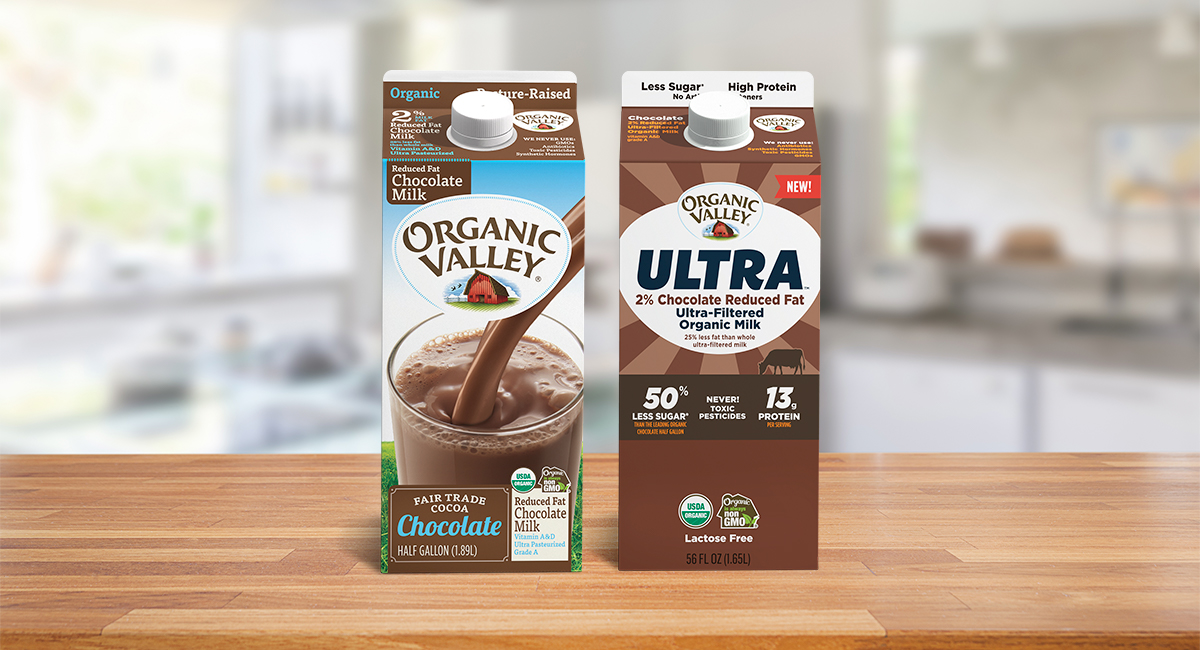 Organic High Protein Chocolate Milk and Organic Chocolate Milk.