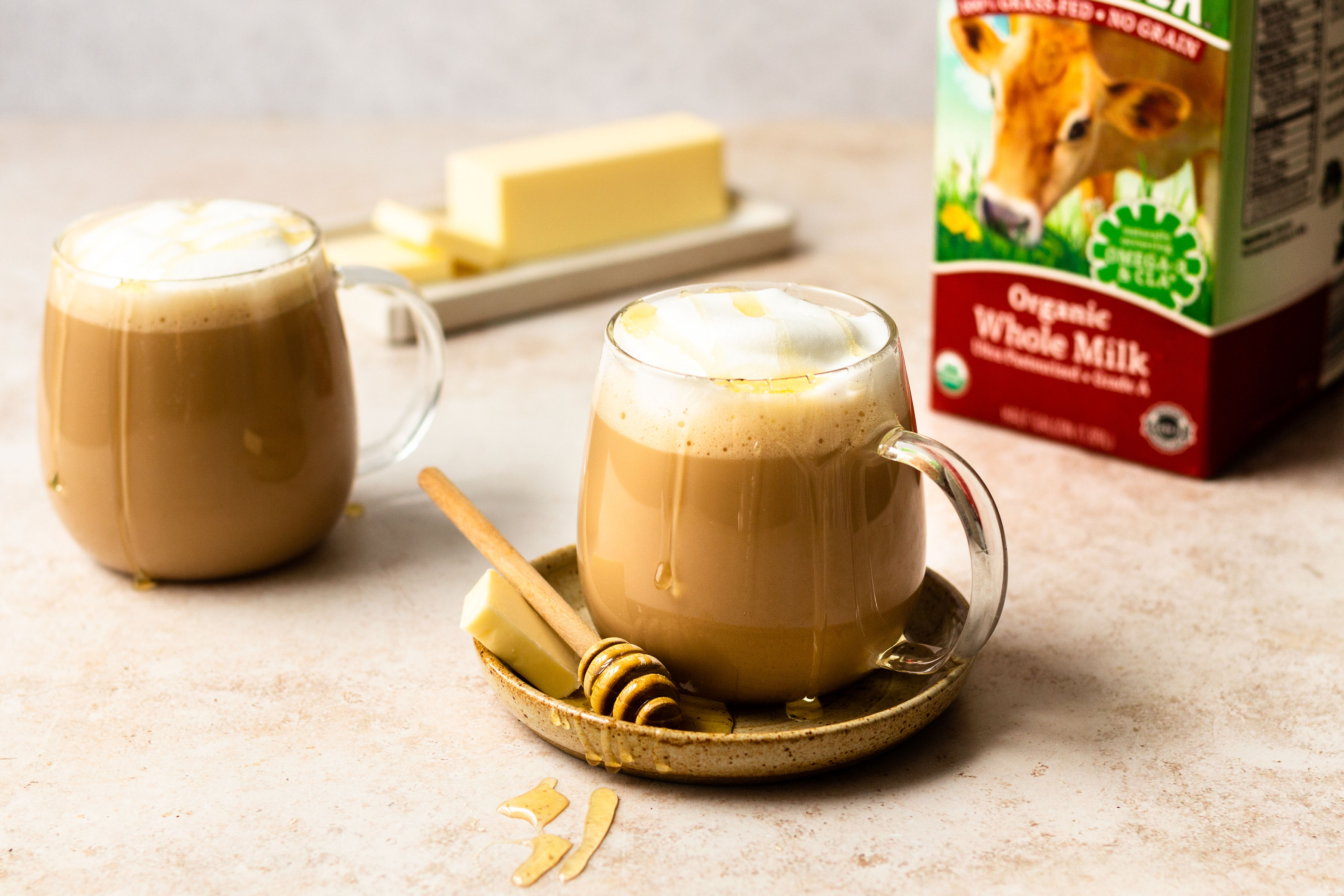 Vanilla honey butter latte with Simply Organic vanilla extract.