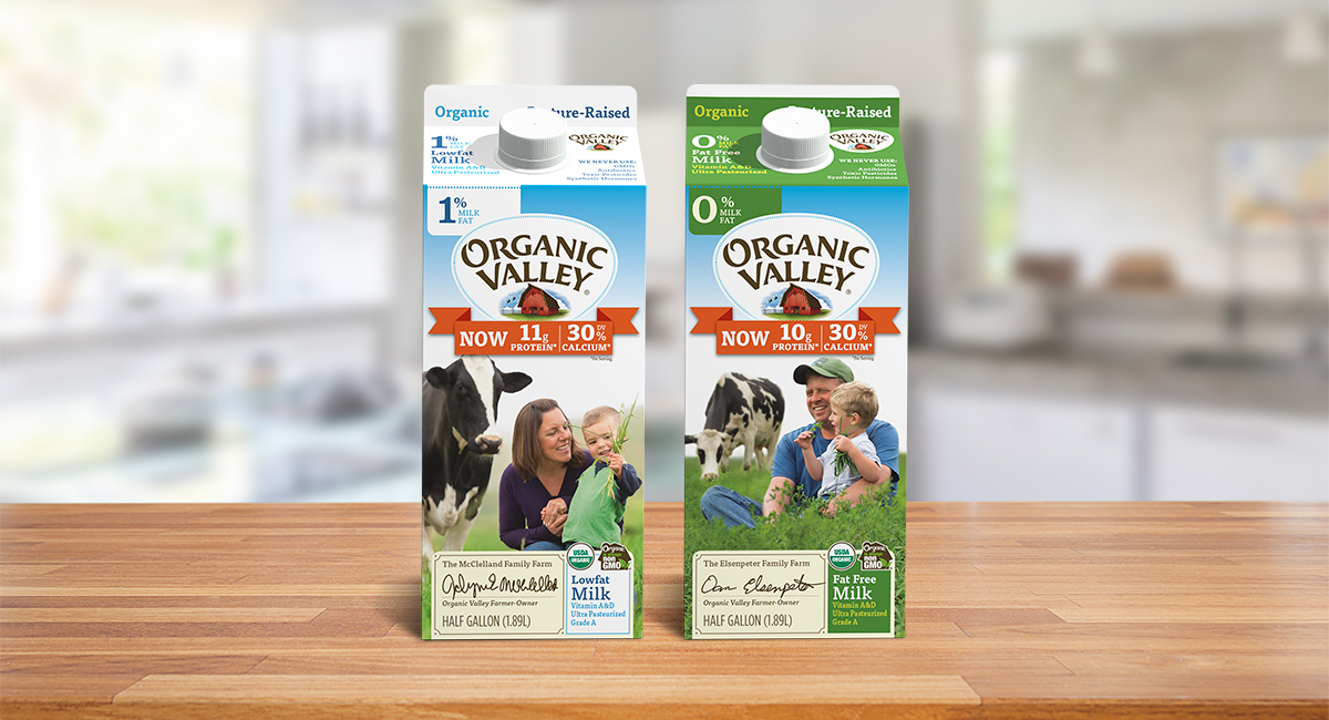 Organic Fortified Milk displayed on a table.