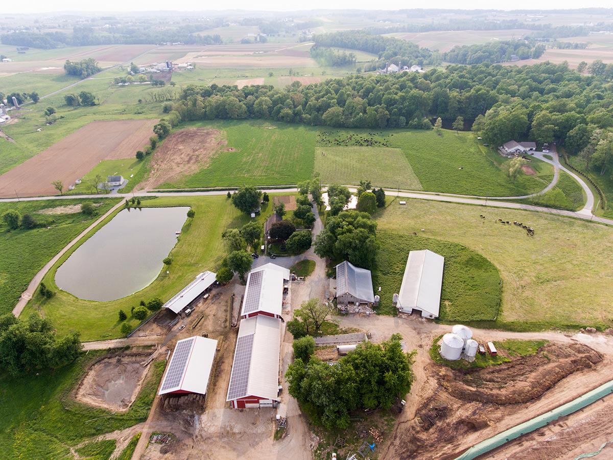Overhead shot of an organic farm in Pennsylvania.
