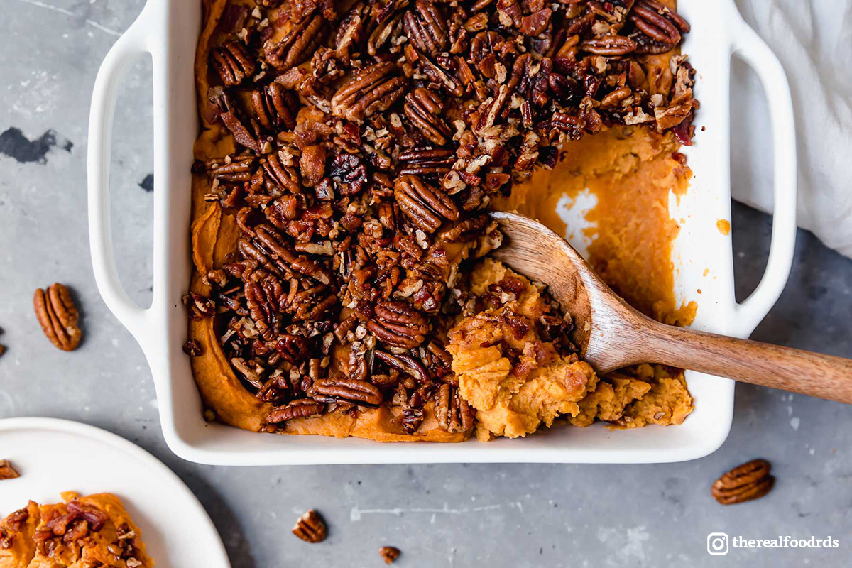 "<p>Savory fall spices, toasty pecans, and salty bacon perfectly balance the sweet potatoes in this delicious<a href=""https://www.organicvalley.coop/recipes/sweet-potato-casserole/"" target=""_blank"">Thanksgiving Sweet Potato Casserole</a>! Recipe by<a href=""https://therealfoodrds.com/"" target=""_blank"">the Real Food Dietitians</a>.</p>"