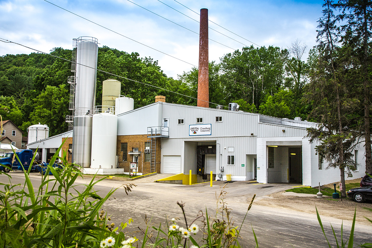 View of the front of the Chaseburg Creamery plant.