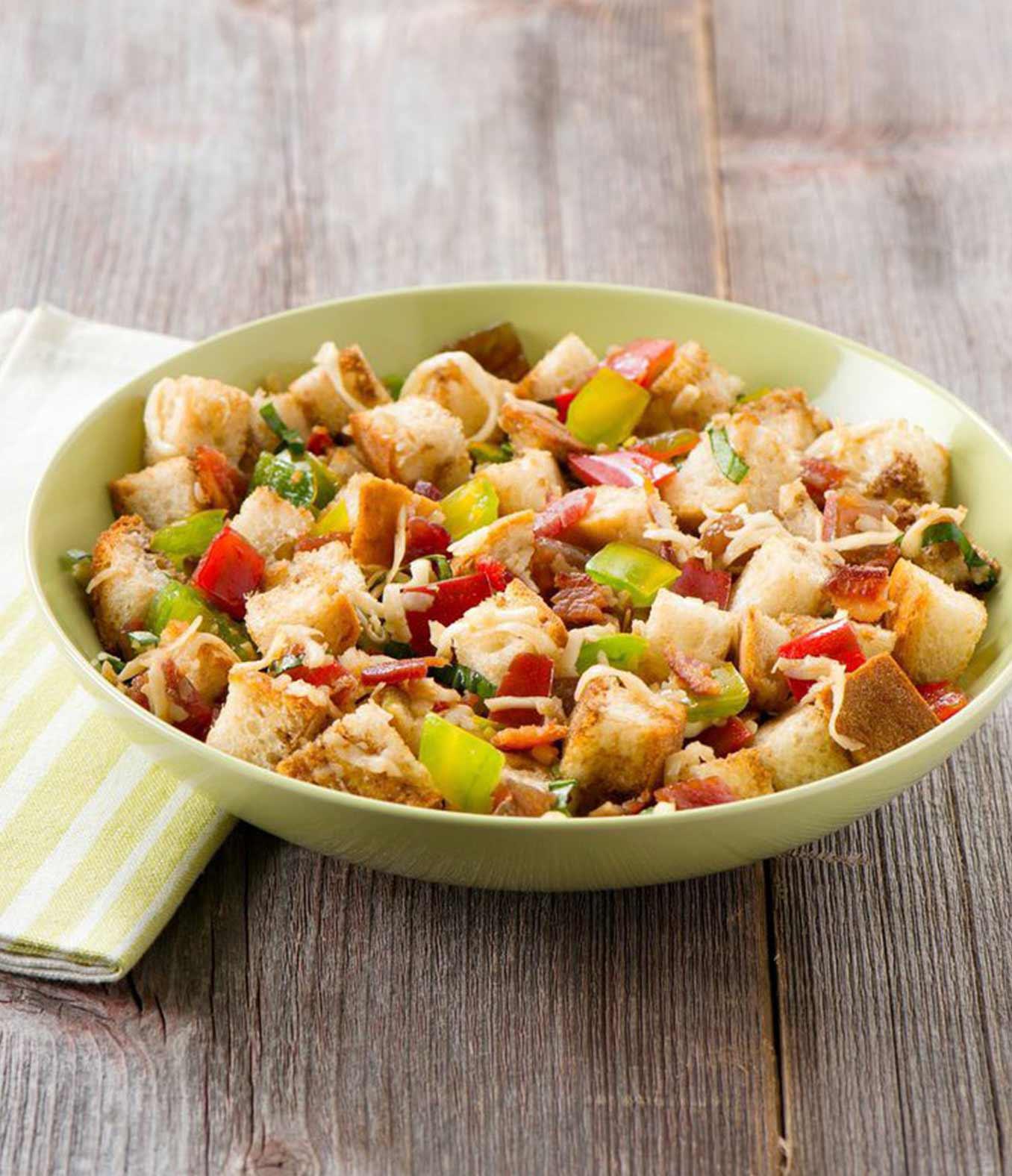 Panzanella Salad with Mozzarella & Bacon
