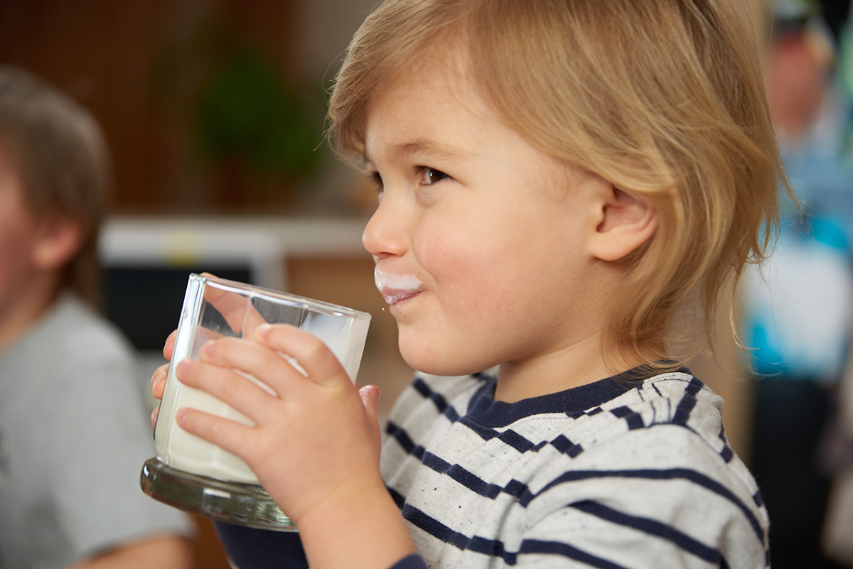 Young boy with a milk mustache drinks a glass of organic milk.
