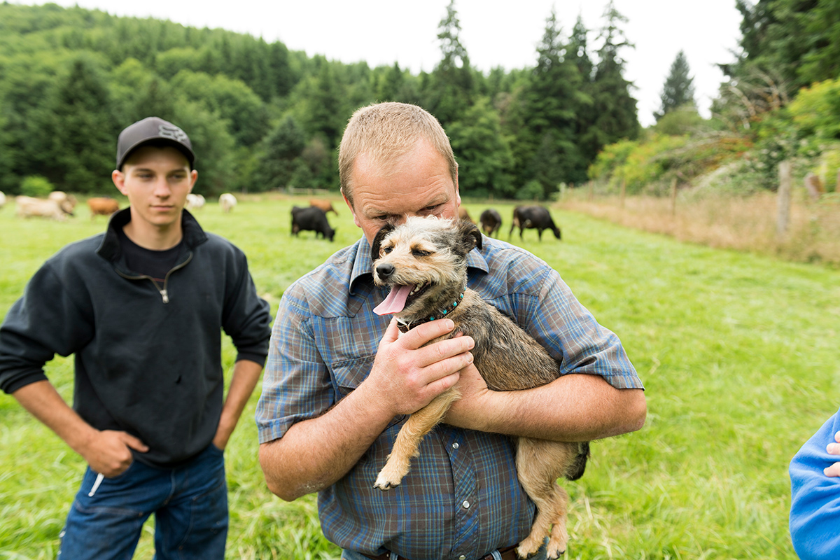 A man standing in a pasture hides his face behind a little terrier dog in his arms.