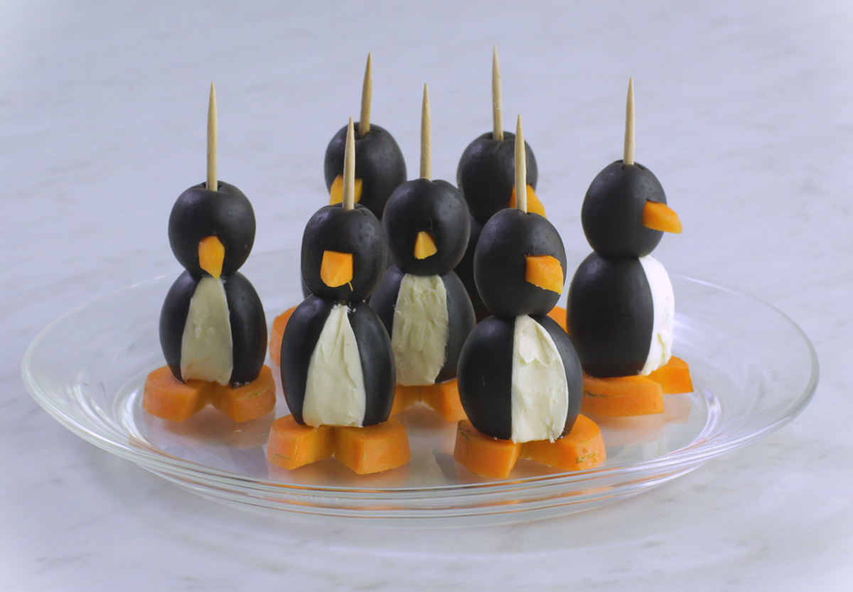 DIY Penguin Appetizers on a Plate.