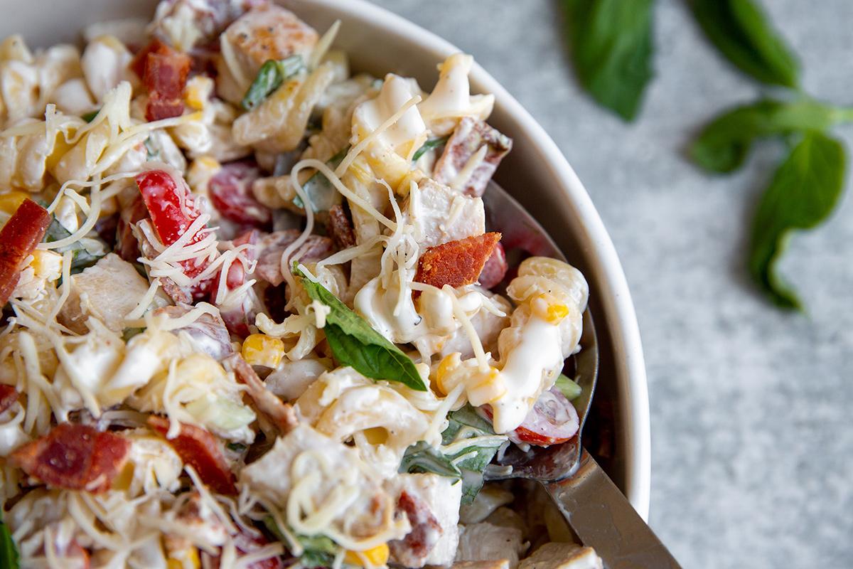 Creamy Chicken Bacon Pasta Salad