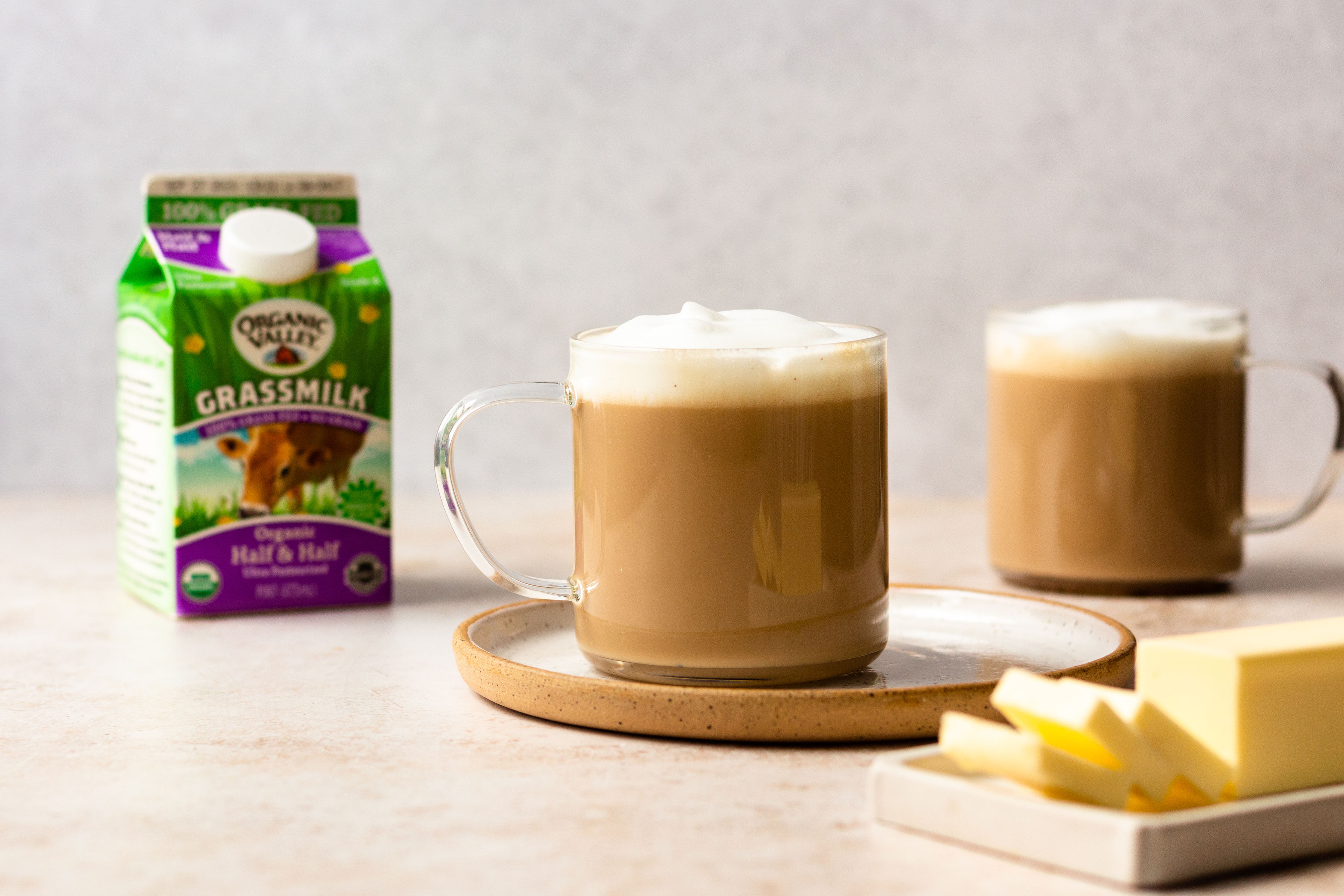 Buttery breve latte with Organic Valley Half & Half.