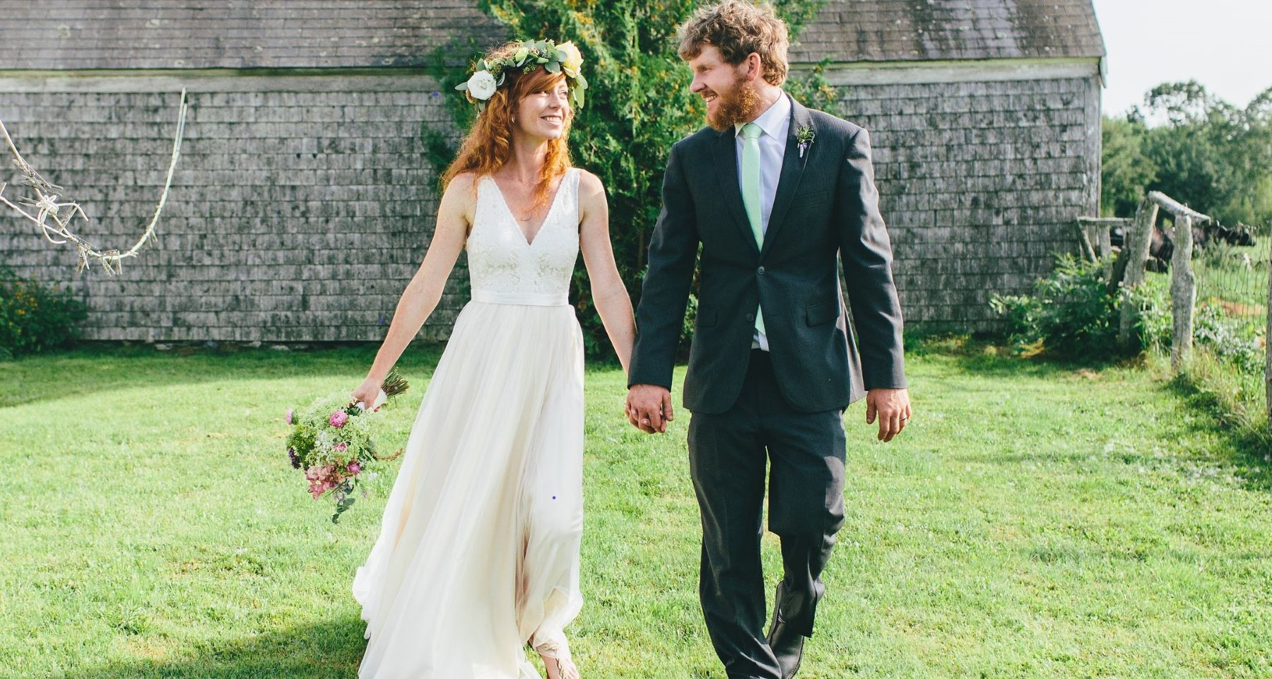 Alexis and Conor MacDonald held their wedding reception at their organic farm in Maine.