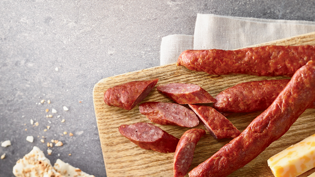 Meat snacks accompanied with cheese and crackers make a great snack.