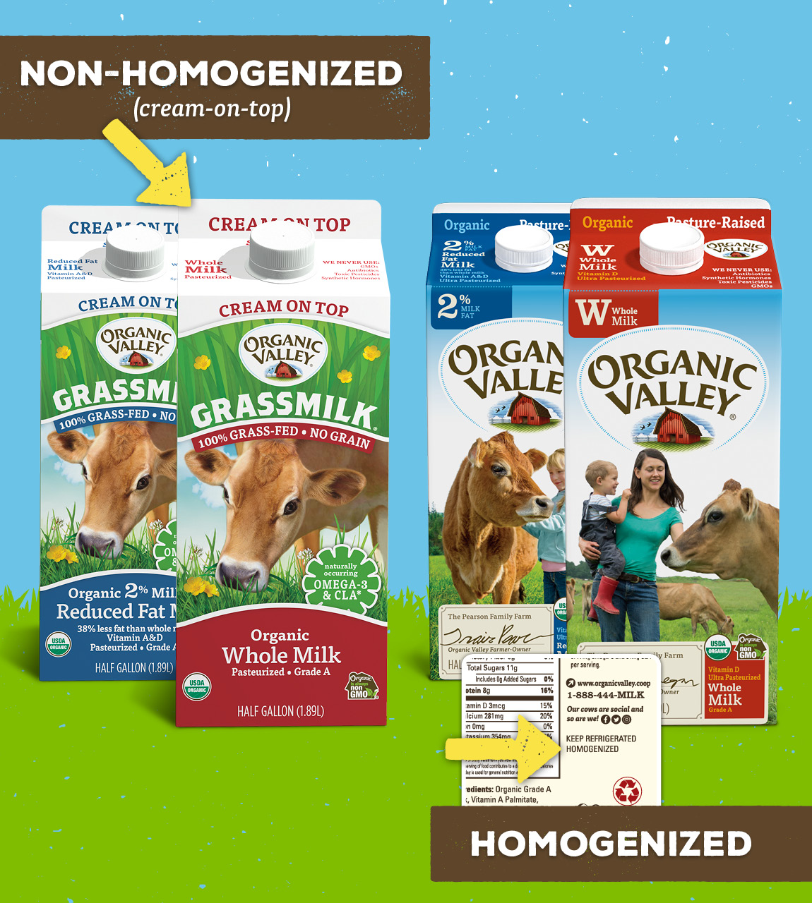 """Organic Valley non-homogenized milk says """"cream-on-top"""" on the front and top of the carton, and our homogenized milk says """"homogenized"""" on the nutrition side panel."""