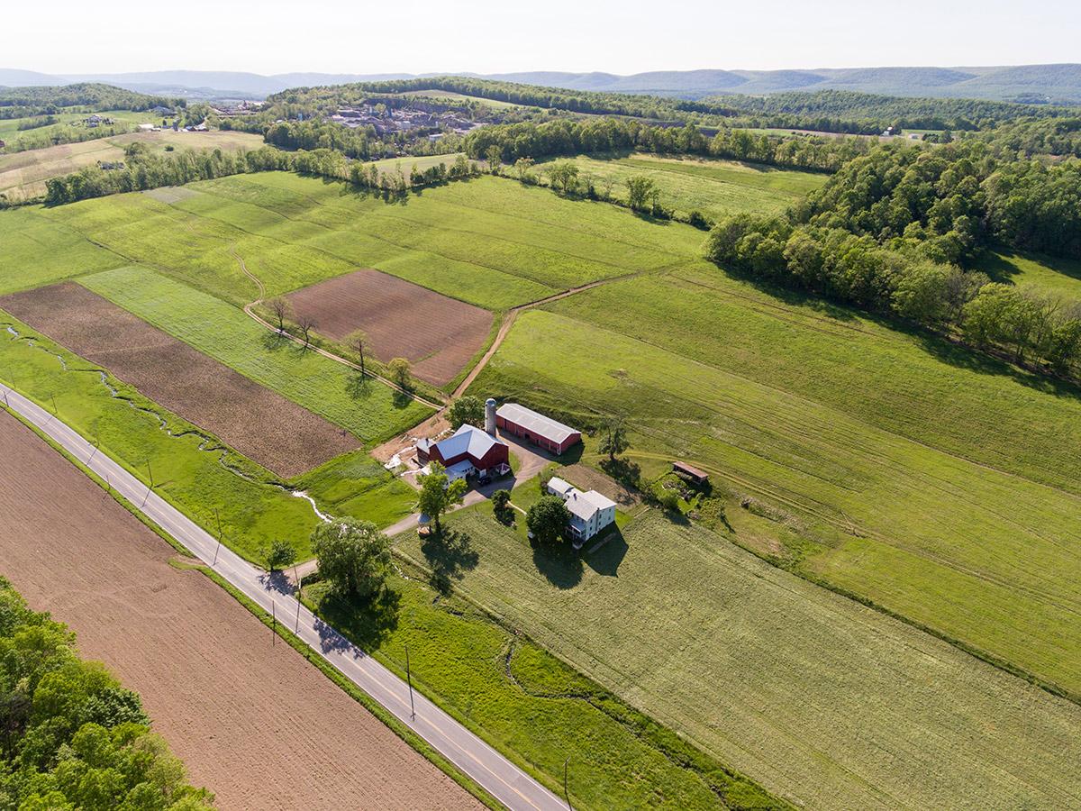 Aerial shot of organic farm in Pennsylvania.
