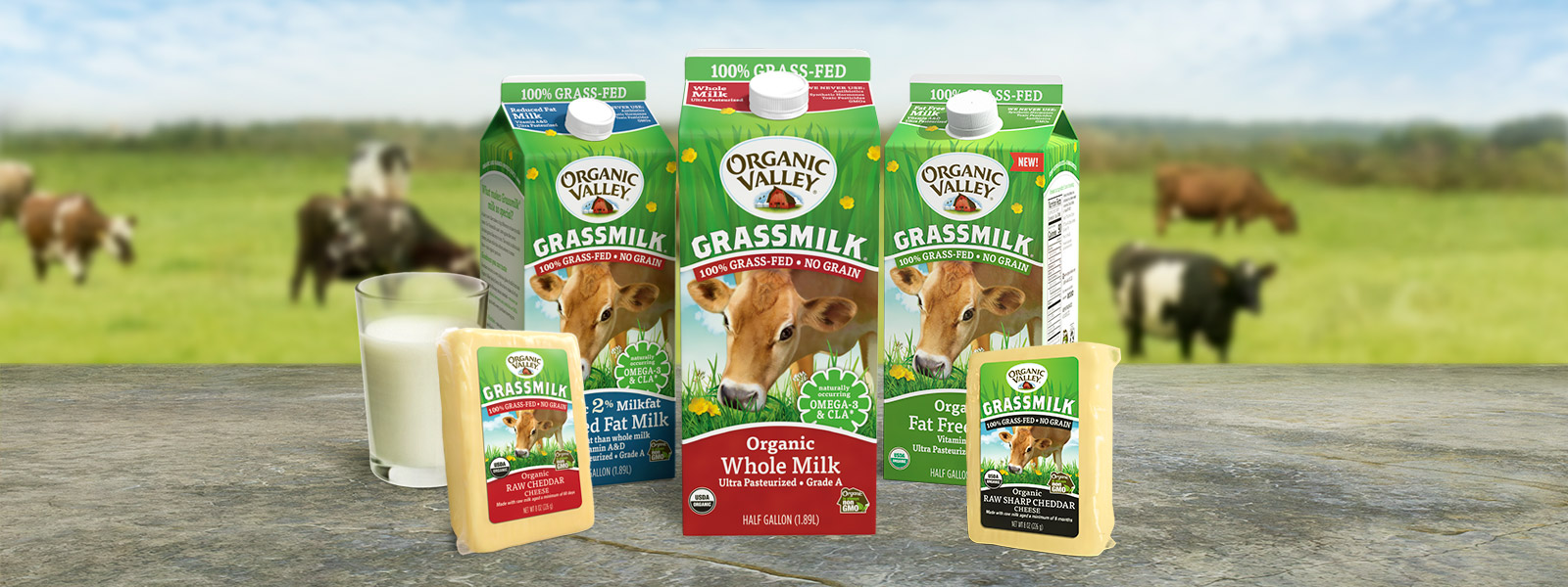 Organic Valley Grassmilk products displayed on a table top.