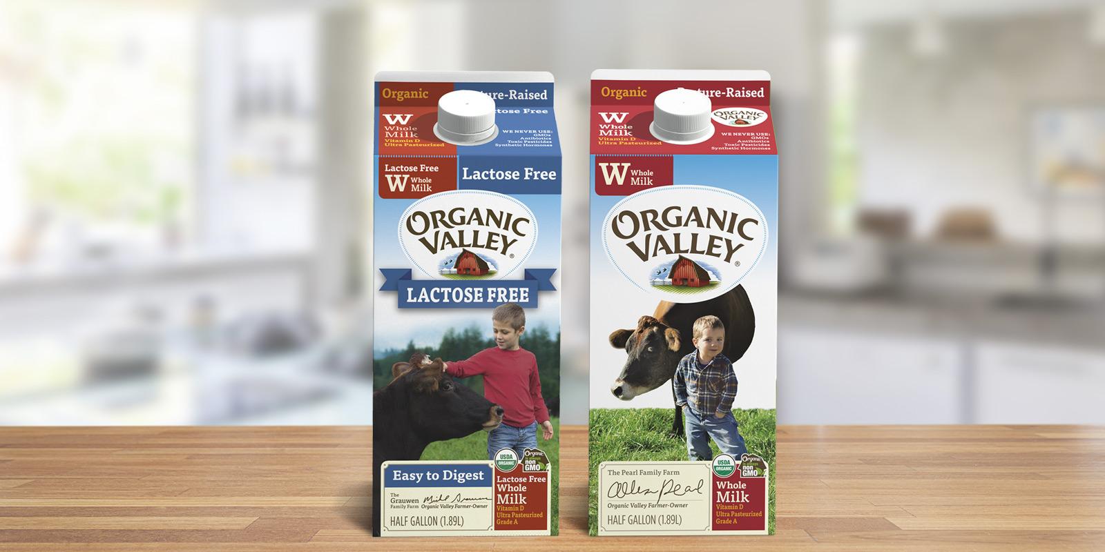 Organic Valley lactose-free milk beside regular milk.