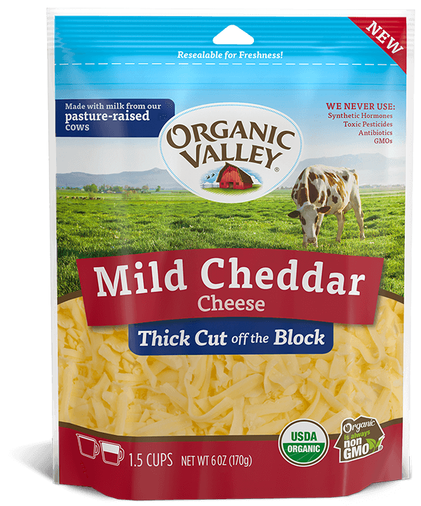 Thick Cut Shredded Mild Cheddar, 6 oz