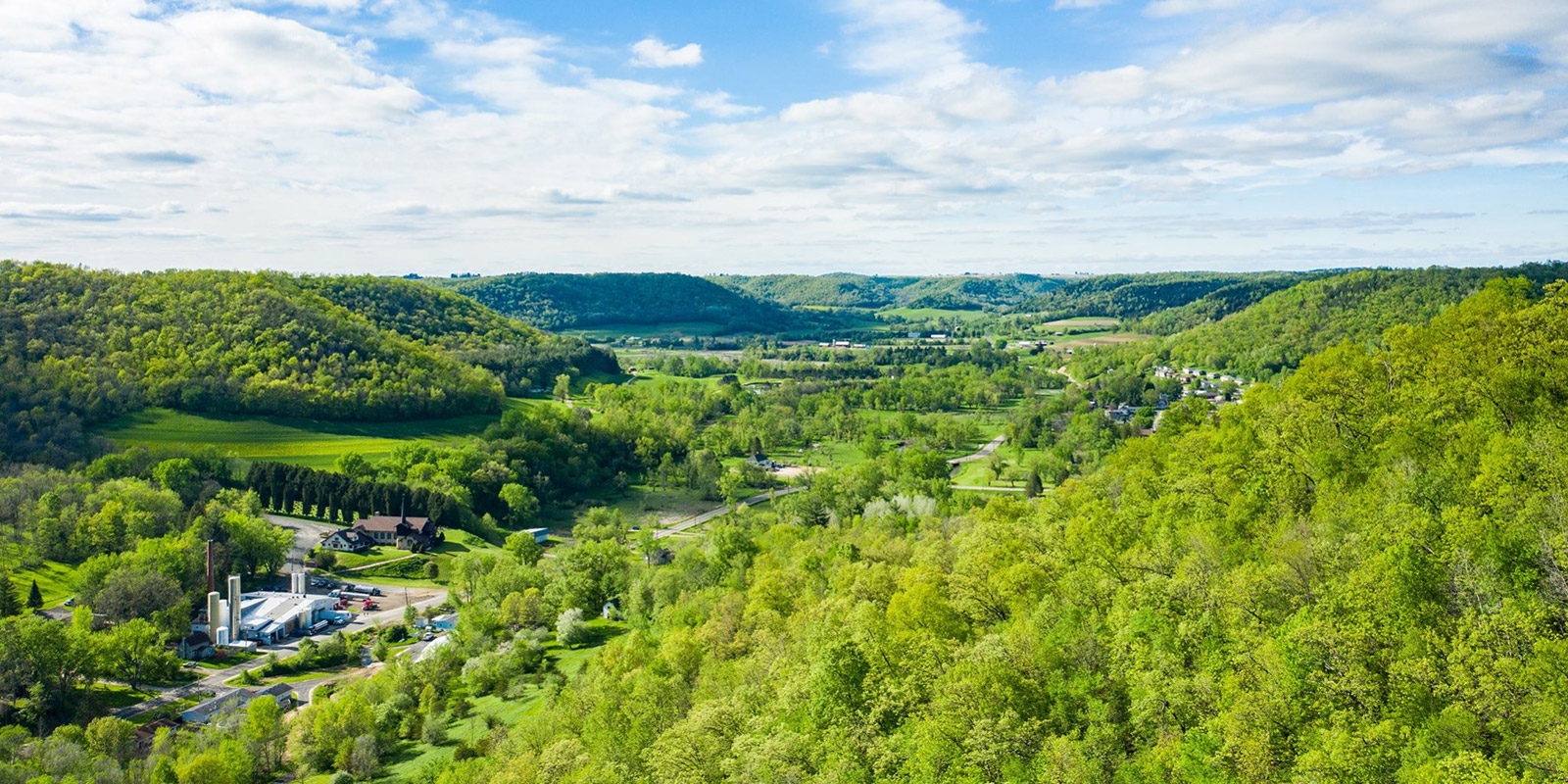 Aerial shot of Organic Valley Chaseburg facilties.
