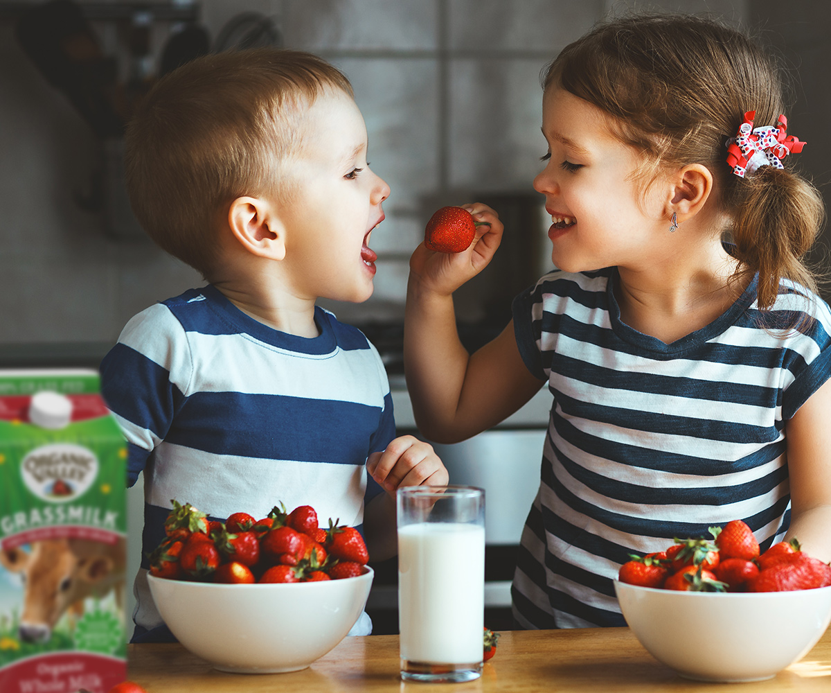 A little girl feeds a little boy a strawberry. They have bowls of strawberries and a glass of milk in front of them.