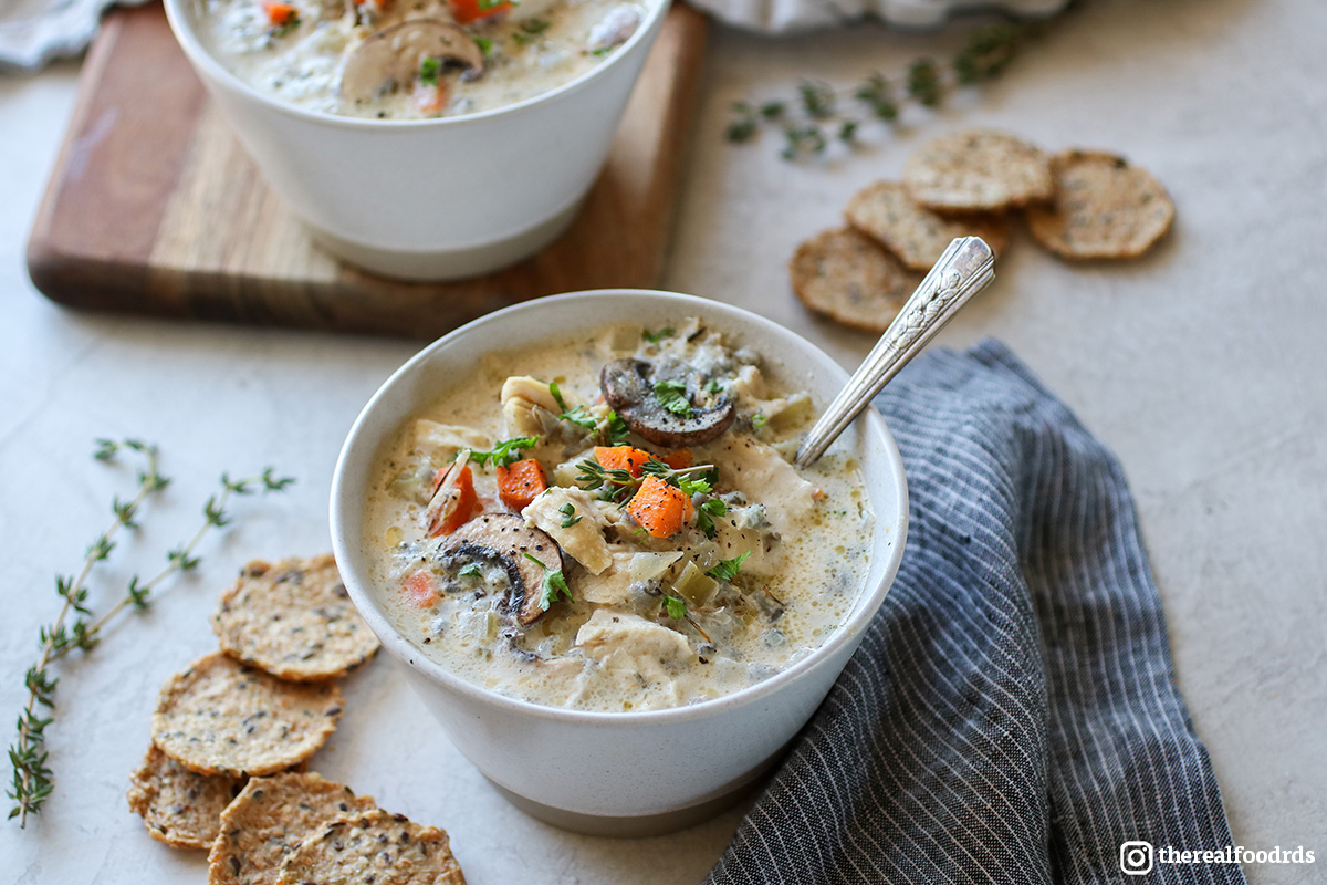 Two bowls of Slow Cooker Chicken Wild Rice Soup.