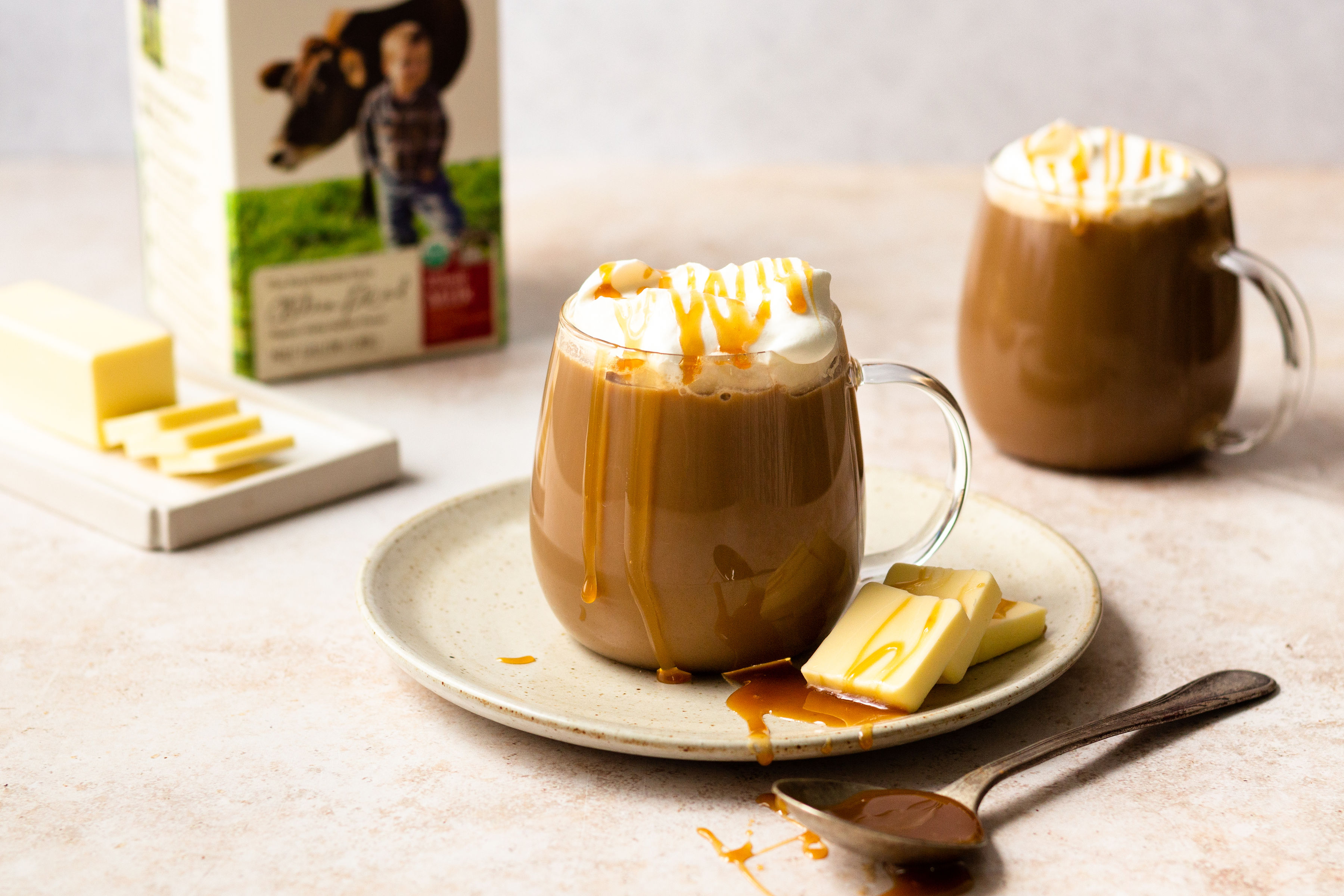 Salted butter caramel latte with Organic Valley Salted Butter.