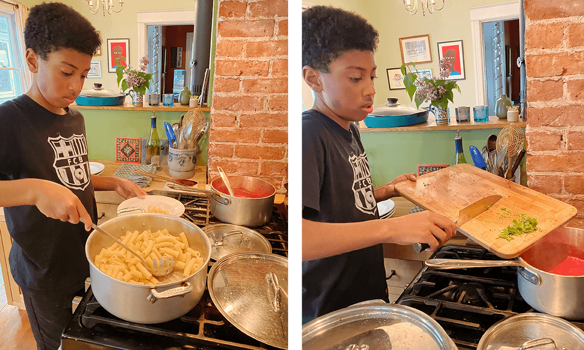 Teenage boy makes pasta over the stove.