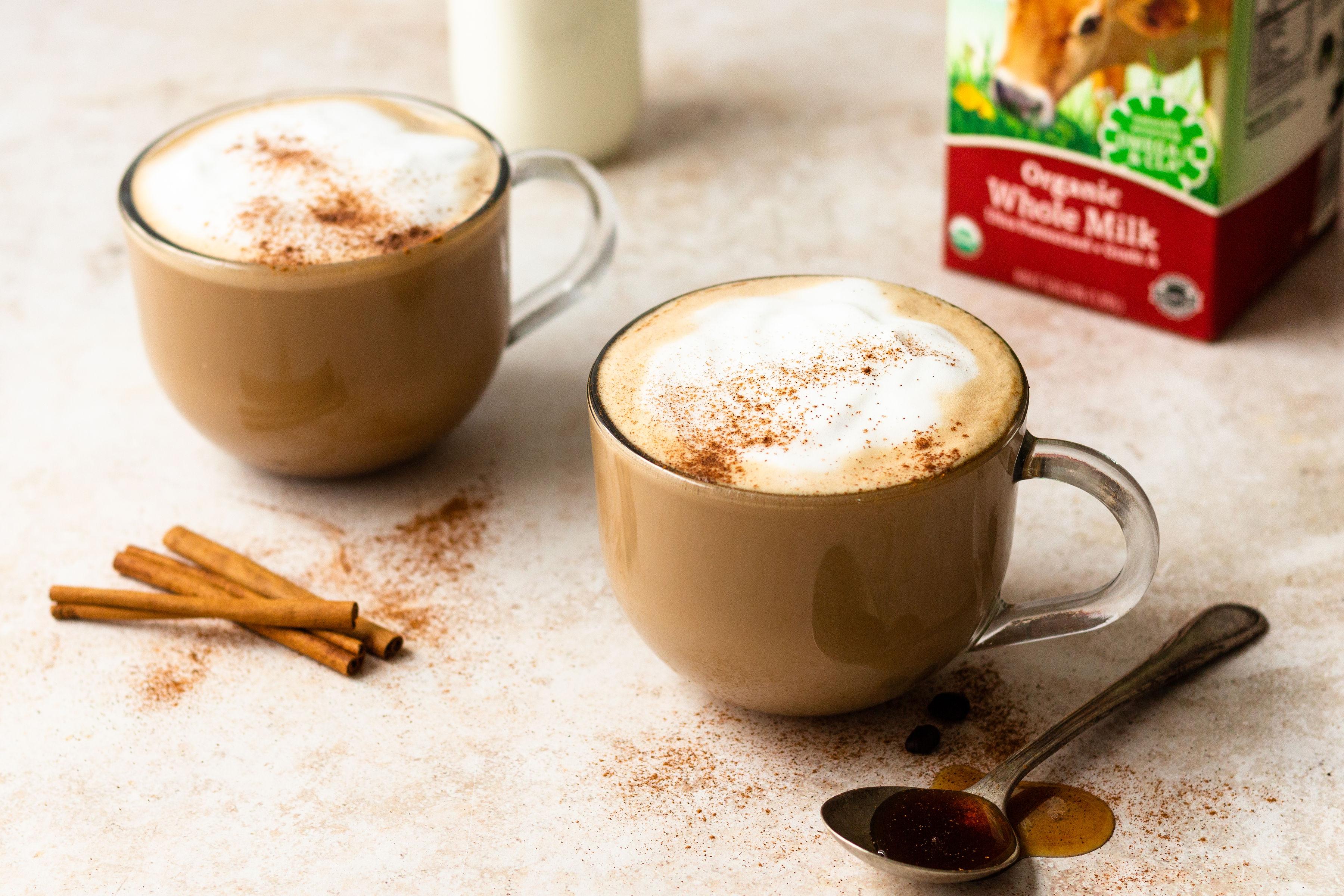 Maple cinnamon latte made Organic Valley Grassmilk.
