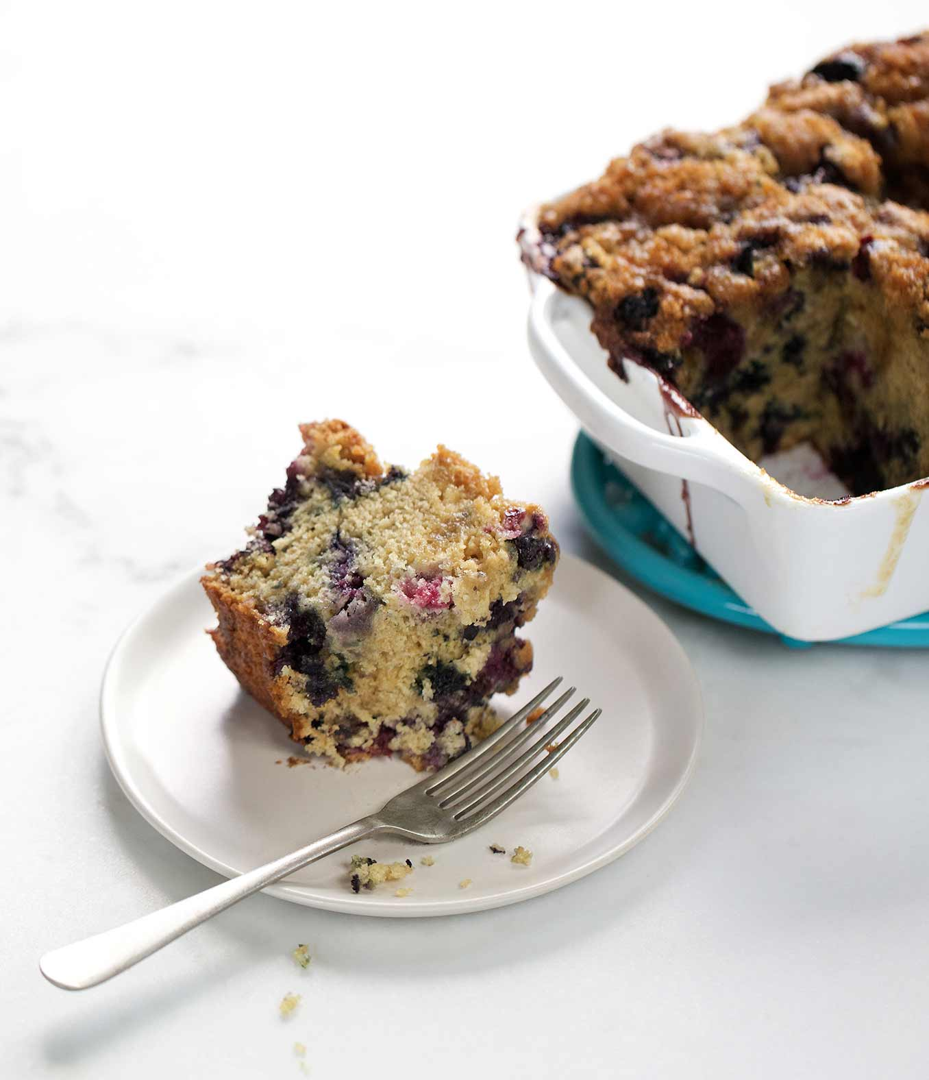 Cream-Glazed Blueberry Coffee Cake