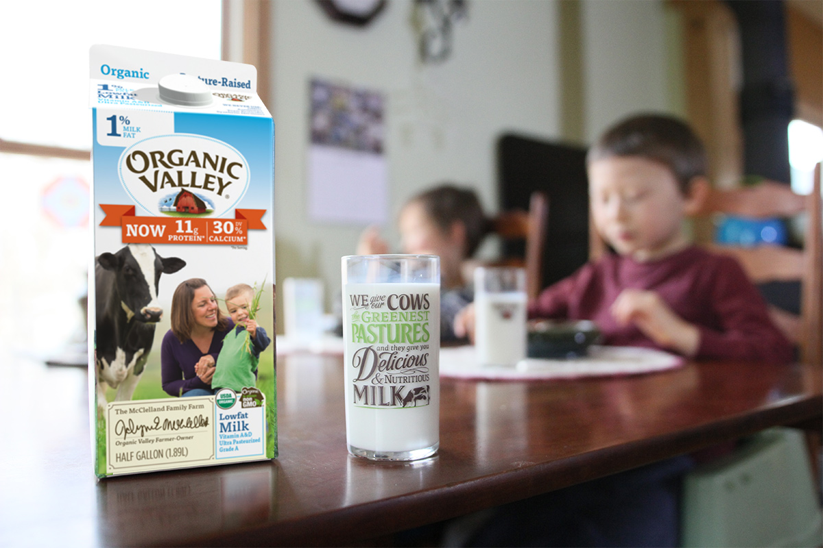 Fortified Organic Valley milk on the kitchen table.