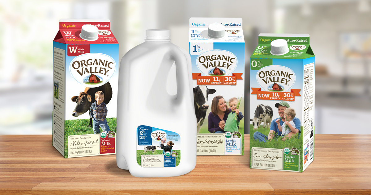 Organic Valley Milk displayed on a table.