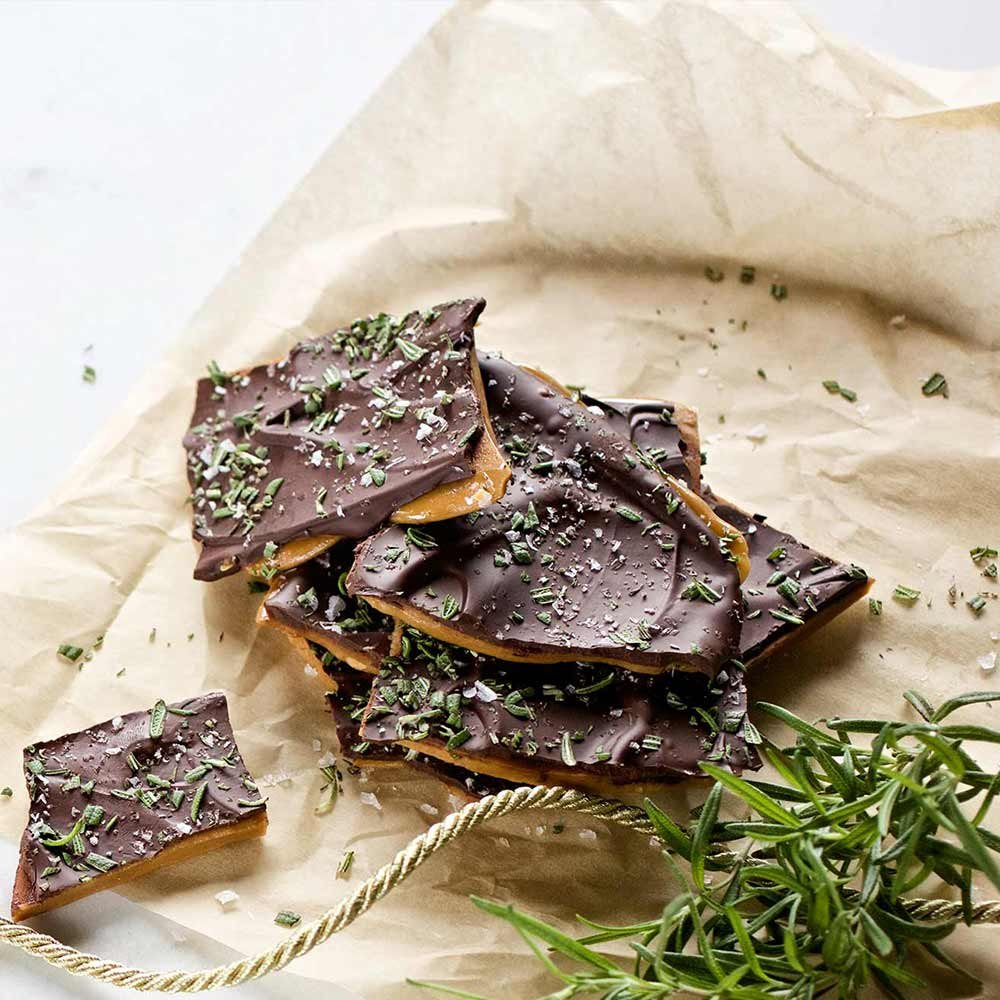 Dark Chocolate Rosemary Toffee