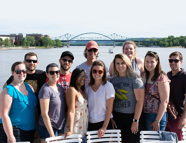 Organic Valley interns enjoying an evening on the river