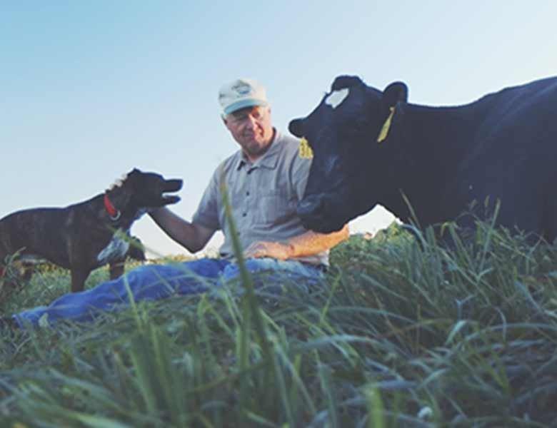 A farmer sitting in the grass between a cow and a small dog.